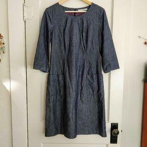 Boden Chambray Denim Sheath Dress Size 8